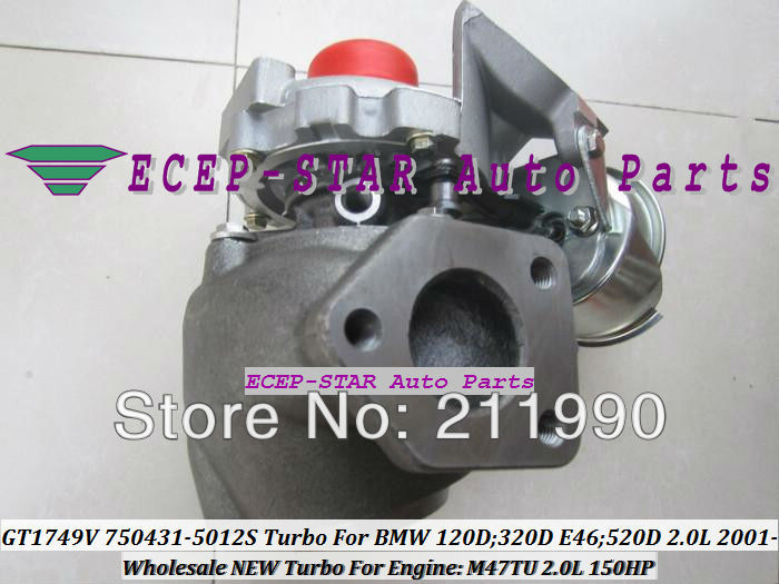 Free Ship GT1749V 750431 5012S 750431 5009S 750431 7794144E03 Turbo For BMW 120D 320D 520D Compact X3 E83 2001 08 M47TU 2.0L
