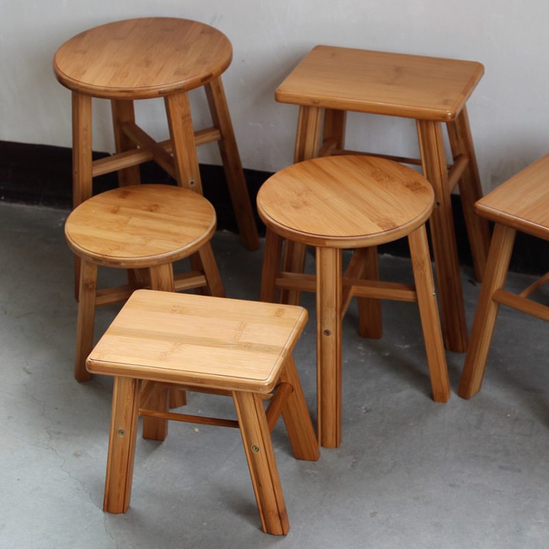 Simple Wooden Style Solid Wood Stools Rounded Rectangle Shaped Plate Home Hotel Furniture Thick