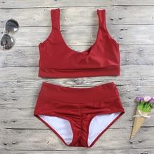 Women Bikini Set Red Plunge High Waist Bikinis