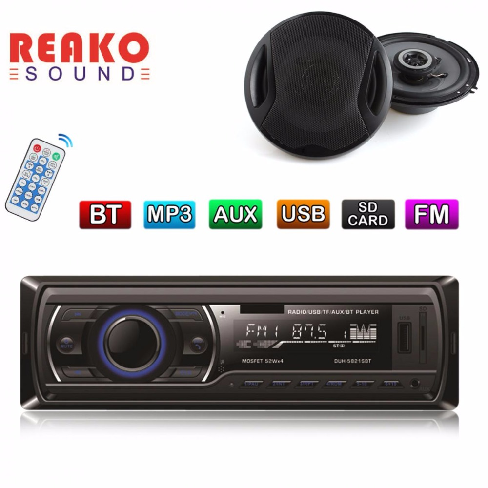 12V Auto Car Bluetooth Stereo Audio In-Dash FM Aux Input Receiver SD USB MP3 MMC Radio Player + 2pcs 6 Inch Car Coaxial Speakers auto radio car radio 12v bluetooth v2 0 sd usb mp3 wma car audio stereo in dash 1 din fm aux input receiver