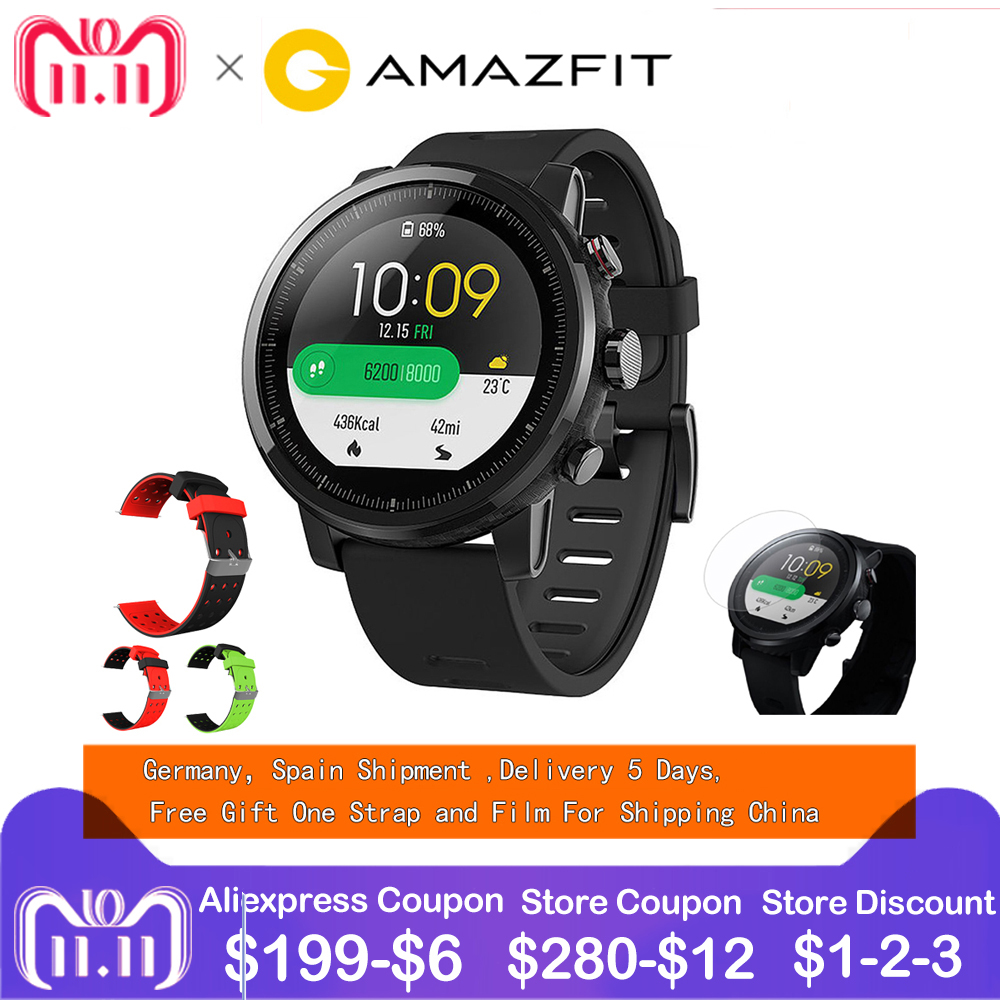 xiaomi mi huami amazfit smart watch stratos 2 english version sports smartwatch with gps ppg heart rate monitor 5atm waterproof EU ES English Version Huami Amazfit Stratos Smart Sports Watch 2 5ATM Water 1.34'' 2.5D Screen GPS Firstbeat Swimming Smartwatch
