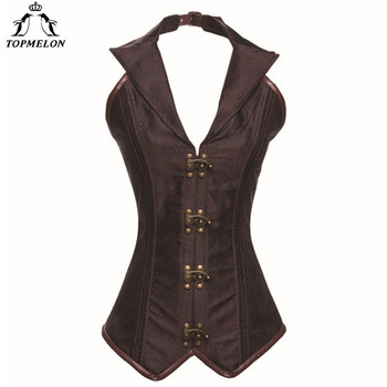 TOPMELON Gothic Corset Women Bustier Corselet Sexy Corset Steampunk Corsets And Bustiers Retro Leather Halter Corset Tops 6XL 1