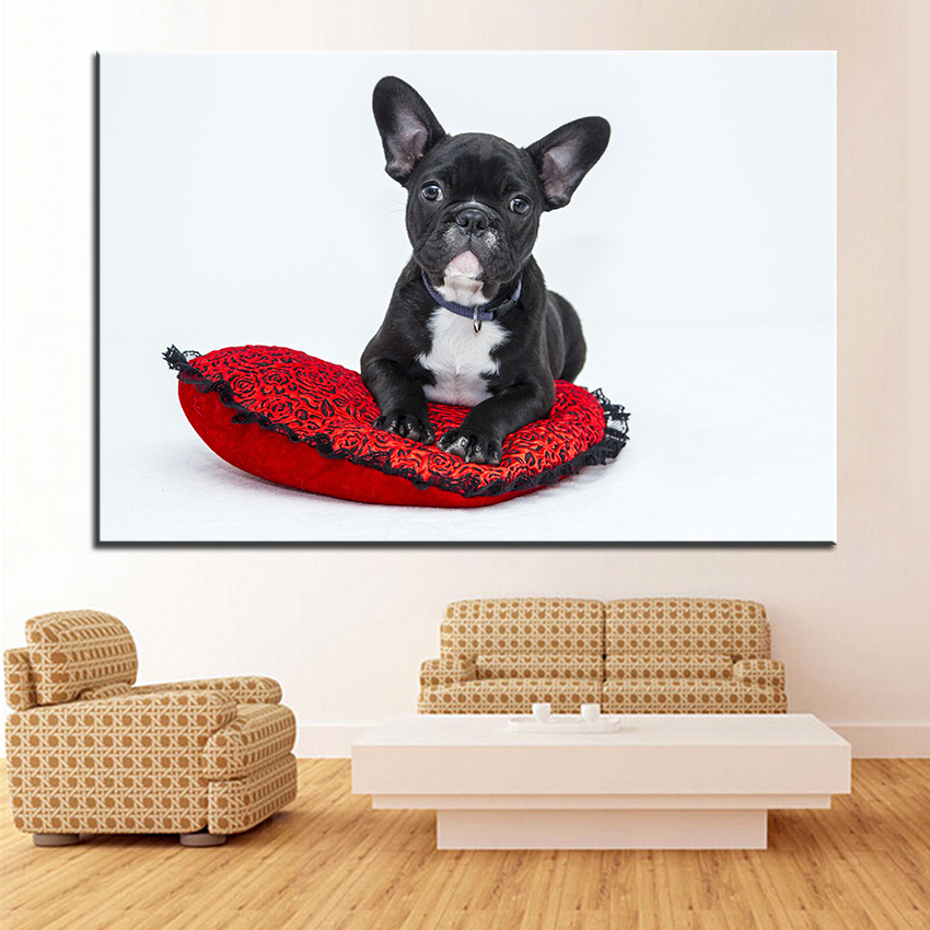 Dog Large size Print Oil Painting bulldog puppy dog pet Wall painting POP Art Wall Art Picture For Living Room painting No Frame