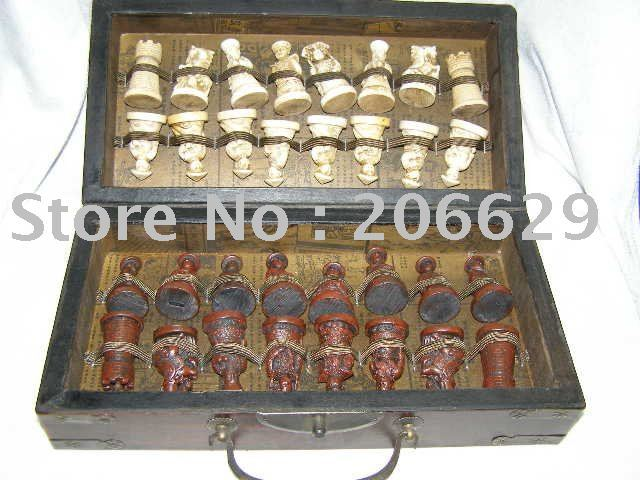 RARE Chinese Dragon wood Leather box with 32 Chess Set