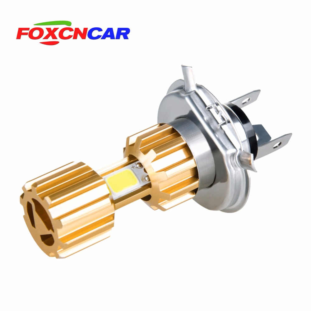 Foxcncar H4 LED Motorcycle Headlights Bulb 6500K 12V 24V Motorbike Bike Fog Lamp COB Moped Scooter Outdoor Lighting Hi-Lo lights