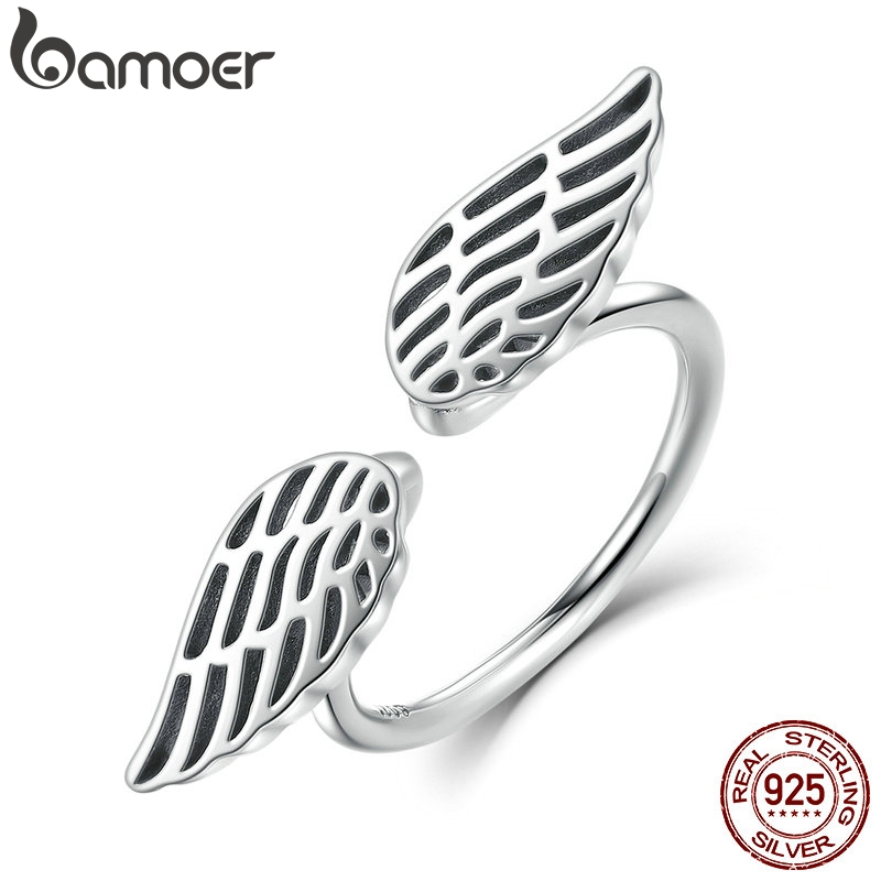 BAMOER 100% 925 Sterling Silver Openwork Wings Feather Finger Ring for Woman Fine Jewelry SCR026