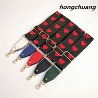 Peach Heart Band Bandwidth Shoulder Strap Crossbody Embroidery Love Shoulder Bag Men's Bag Accessories Shoulder Strap Small Bag