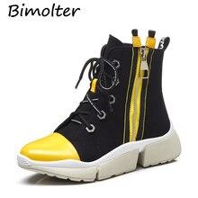 Bimolter Fashion Cross-tied Women Ankle Boots Cow Leatehr+Canvas Platform Autumn/Winter Wedges Casual Shoes LAEB067