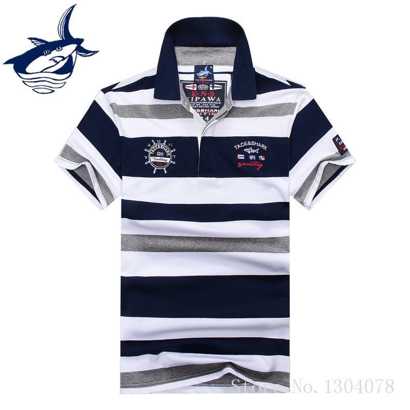 Shark   polo   shirt men short sleeve new fashion mens   polo   shirt brands tace & shark   polo   men cotton breathable striped   polo   shirts