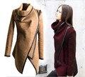 Mujeres libres del envío de lana abrigo de invierno 2015 chaqueta de cremallera asimétrica PU cuero ajuste cascada frente abierto capa de la rebeca