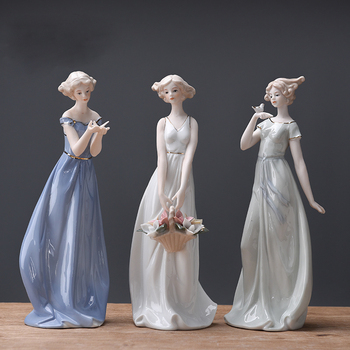 Europe Ceramic Beauty Figurines Home Furnishing Crafts Decoration Western Lady Girls Porcelain handicraft Ornament Wedding Gift