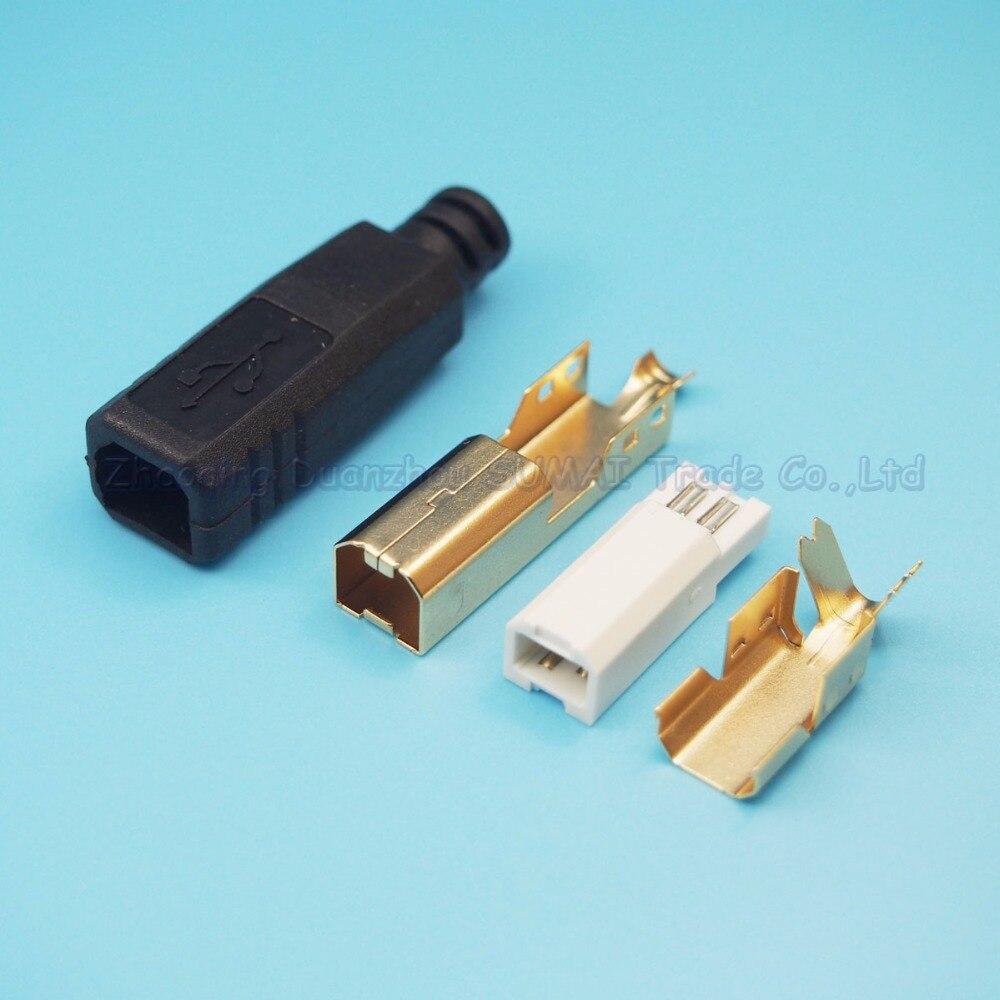 Gratis Pengiriman 5 Set Emas Plating 4 In 1 Printer Plug Usb B Keran Plastik Taman 02 302 Setengah Inch Laki Dengan Shell