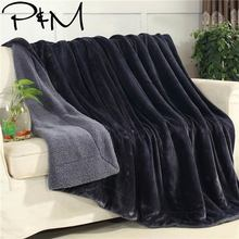 Papa&Mima Solid Deep Grey Winter Thick warm Throws Plaids Double-sided Blanket Sherpa Berber Fleece Fabric Bedding Bedspread