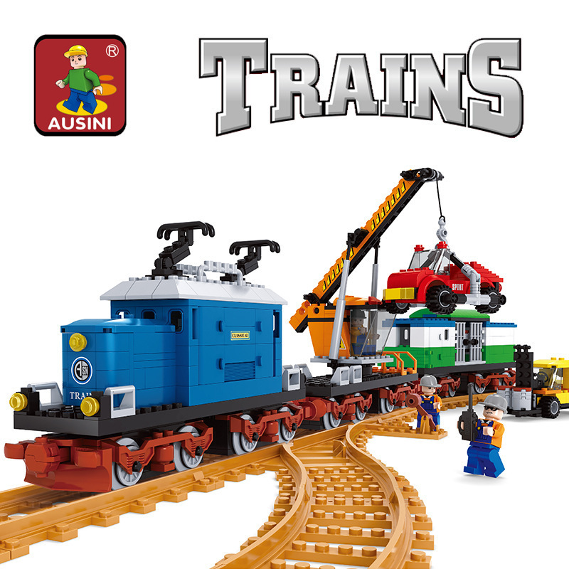 AUSINI 724pcs AlanWhale Vintage Pick-up Goods train locomotive Train Model Building Blocks Bricks Playset Railway Toys 25709