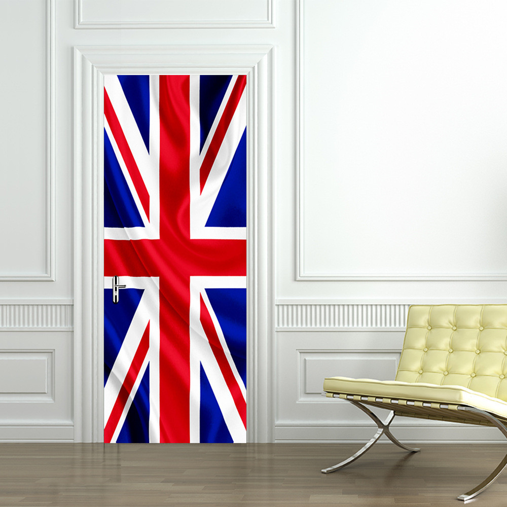 Funlife union jack flag door sticker pvc waterproof mural poster funlife union jack flag door sticker pvc waterproof mural poster for living room bathroom home decor imitation 3d wall sticker in wall stickers from home amipublicfo Gallery