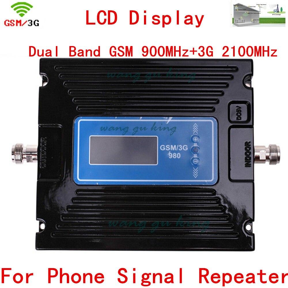 Pour la russie dispositif LCD affichage 2G 3G GSM répéteur amplificateur, cellulaire GSM Signal Booster 900 mhz 2100 mhz GSM Signal répéteur