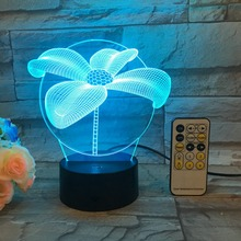 Willshi Night Light with Remote Control 3D Colorful Table Lamp Touch Control Bedside Adjustable LED Light Free Shipping