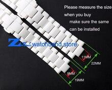 Convex boca pulseira de cerâmica branca 19mm 22mm pulseira de relógio Borboleta Fivela pulseira de banda para AR1424 AR1421 AR1426 AR1425