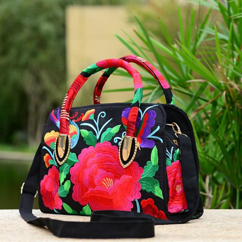 2017 new national style embroidered female handle bag canvas embroidery peony azalea lady handbag women shoulder crossbody bags