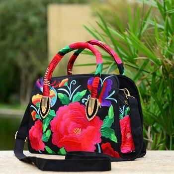 2017 new national style embroidered female handle bag canvas embroidery peony azalea lady handbag women shoulder crossbody bags Сумка