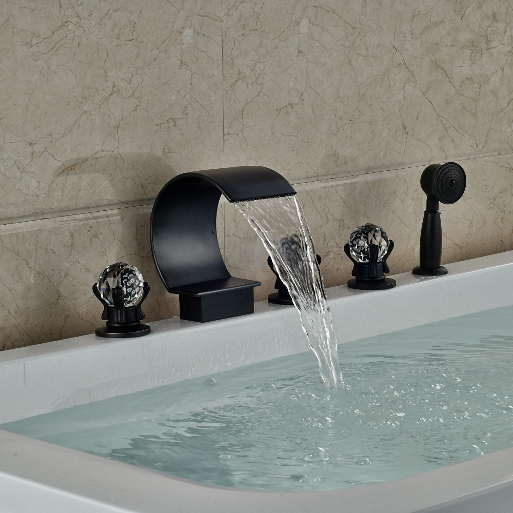 Oil Rubbed Bronze Waterfall Bathroom Tub Faucet W/ Hand Shower Mixer Tap Crystal Handles Deck Mounted
