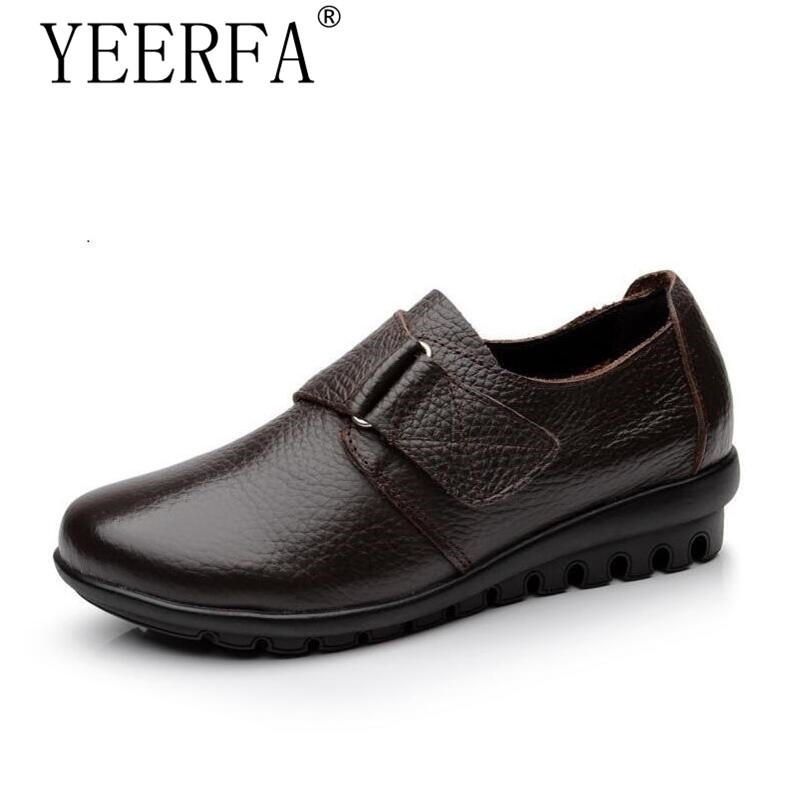 YIERFA flats Shoes Woman Genuine Leather Women Shoes Flats 3 Colors Buckle Slip On Womens Flat Shoes Moccasins Plus Size 35-43