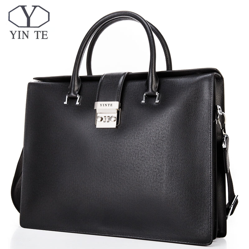 YINTE Cowhide Leather Briefcase Men Business Laptop Tote Bags Office Men's Leather Messenger Shoulder Bag Handbags T8632-5 men genuine leather bag messenger bag man crossbody large shoulder bag business tote briefcase brand handbags laptop briefcase