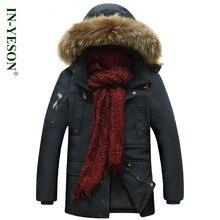 IN-YESON мужчины Зимнее пальто бренд-одежда утолщение мужская зимняя куртка с меховым капюшоном теплая зима куртки мужчины chaqueta hombre