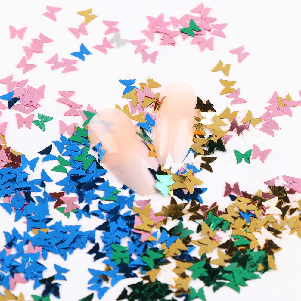 12 รูปแบบ 3D เลเซอร์ผีเสื้อรูปร่างเล็บ Flakes Paillette Glitter Bow Tie เล็บเล็บตกแต่ง DIY เคล็ดลับความงามเล็บเลื่อม