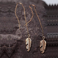 Vintage Gold Color Feather Drop Earrings For Women Retro Long Wire Ear Jewelry Fashion Line Chain Dangle Earring Brand Dress(China)