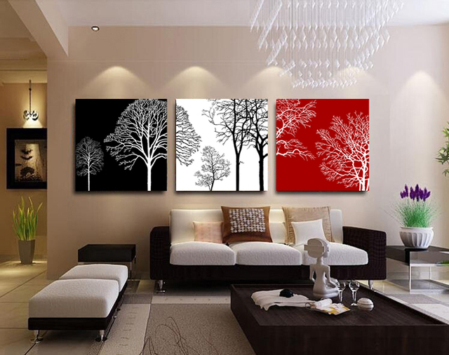 Original Oil Ink 3 Panels Canvas Black White Red Tree Painting On Canvas  Wall Art Picture