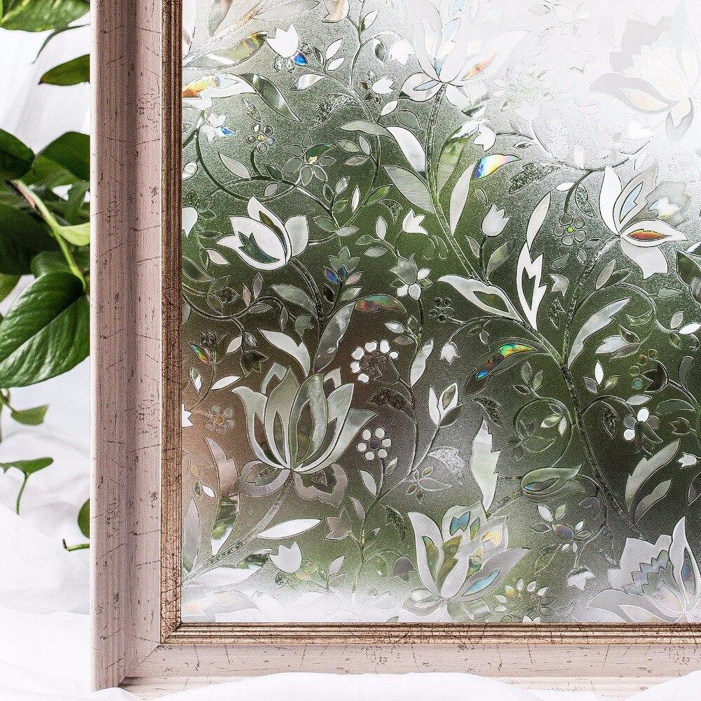 CottonColors Chambre Salle De Bains PVC Film De Protection Fenêtre Non-Colle 3D Statique Fleur Décoration Fenêtre En Verre Autocollant Taille 60x200 cm