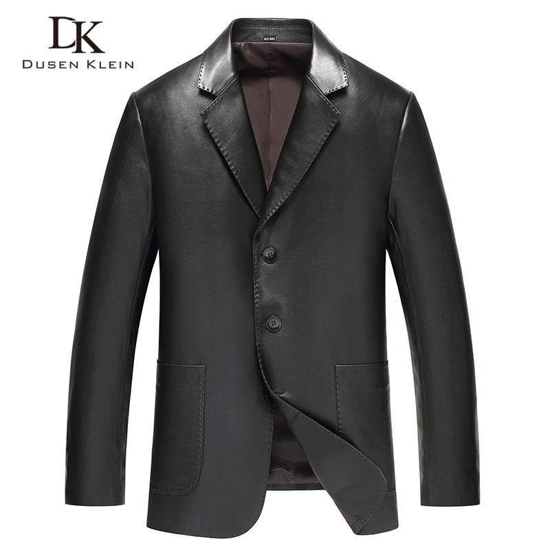 Dusen Klein giacche di pelle da Uomo Genuino pelle di pecora Tuta In Pelle 2018 Nuovo di stile di Affari Più Il formato 5XL 81Y13