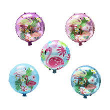 1 stks 18 inch Ronde Flamingo Roze Aluminium Ballon Hawaiian Party Decoratie Helium Ballonnen Bruiloft Decortion Levert 5 kleur(China)
