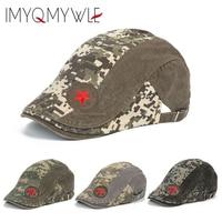 新しいファッション迷彩ファイブスター軍事ベレーフラットベレーキャップメンズアジャスタブルお父さん帽子wh378