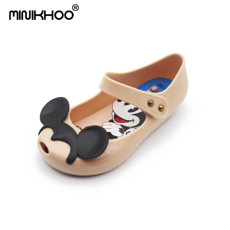 Mini Melissa 2018 New Jelly Shoes Cute Girls Sandals Shoes for Children Thick Mickey Mini Melissa KIDS Girls Shoes EU Size 24-29