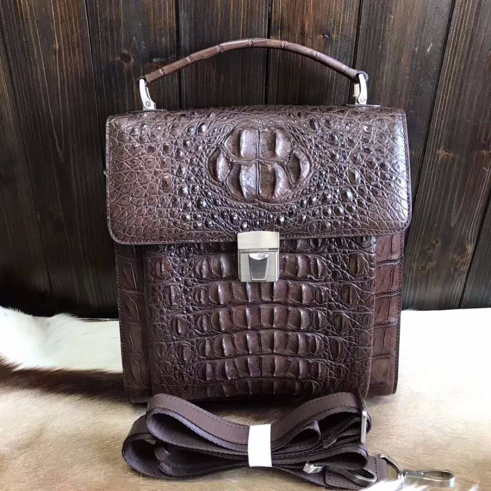 2018 Latest Fashion Top Handle Dark Brown 100% Genuine/Real Crocodile Skin Leather Men Business Bag Men Briefcase Laptop Bag