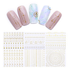 Geometric Patterns 3D Nail Sticker Decals Adhesive Moon Star Gold Stripes Wave Line Manicure DIY Nail Art Decoration 1 Sheet(China)