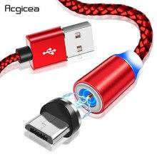 Acgicea Cable Micro USB magnético para móvil, Cable de carga magnético para Samsung S7, Redmi Note 5, Cable de carga Micro USB