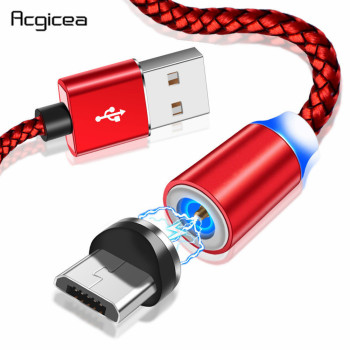 Acgicea Magnetic Charger Micro USB Cable Magnet Charge Cord For Samsung S7 Redmi Note 5 Magnetic Cables Micro USB Charging Wire