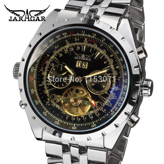 894e7eb3af4 JARAGAR dos homens Venda Quente Automático 5 Mãos de Aço Inoxidável Relógio  de Forma Cinta Frete