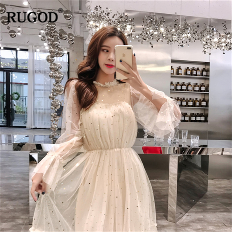 RUGOD Flare Sleeve Perspective Dress Women 2019 Spring Lace Mesh Ruffles Knee-length Elastic Waist Sequin Dress Elegant Dresses