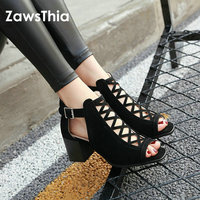 ZawsThia Hollow Cut Out Sexy Summer Gladiator Sandals Womens Chunky High Heels Buckle Block Peep Toe Woman Shoes Plus Size 33 43