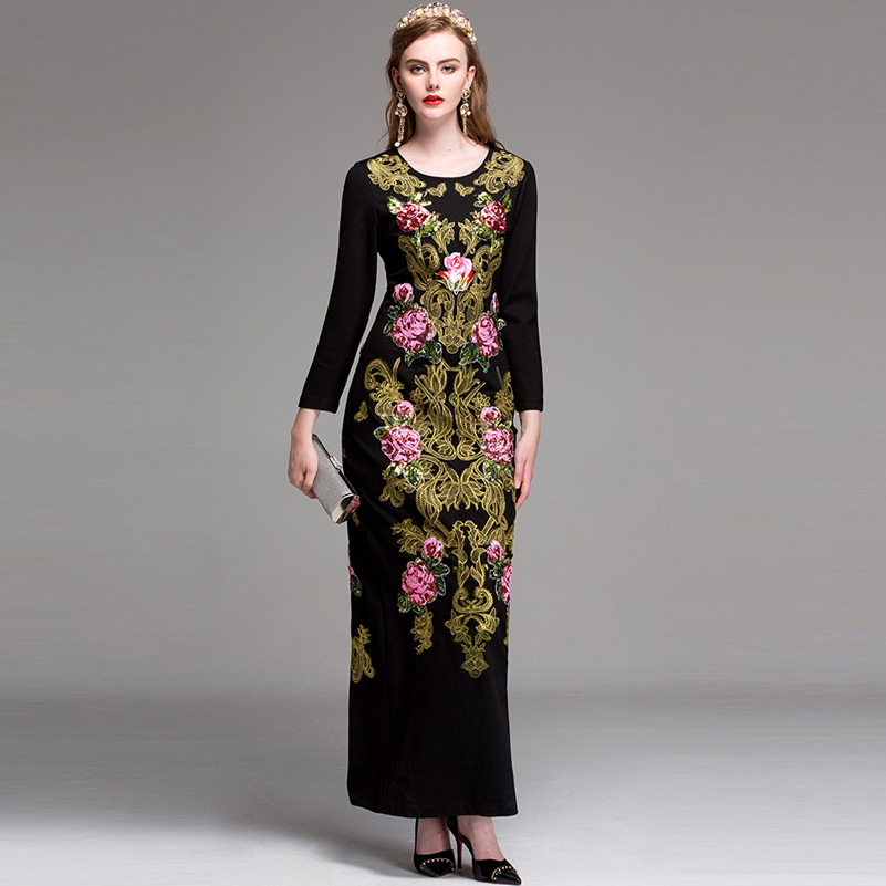 2017 autumn/Winter Designerr Maxi Dress Womens Noble Gold Line Embroidery Rose Floral Sequined Bodycon Vintage Black Long Dress