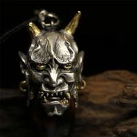 925 Sterling Silver Evil Oni Noh Hannya BUDDHIST Mask Customize Hanmade HANNY Pendant Necklace