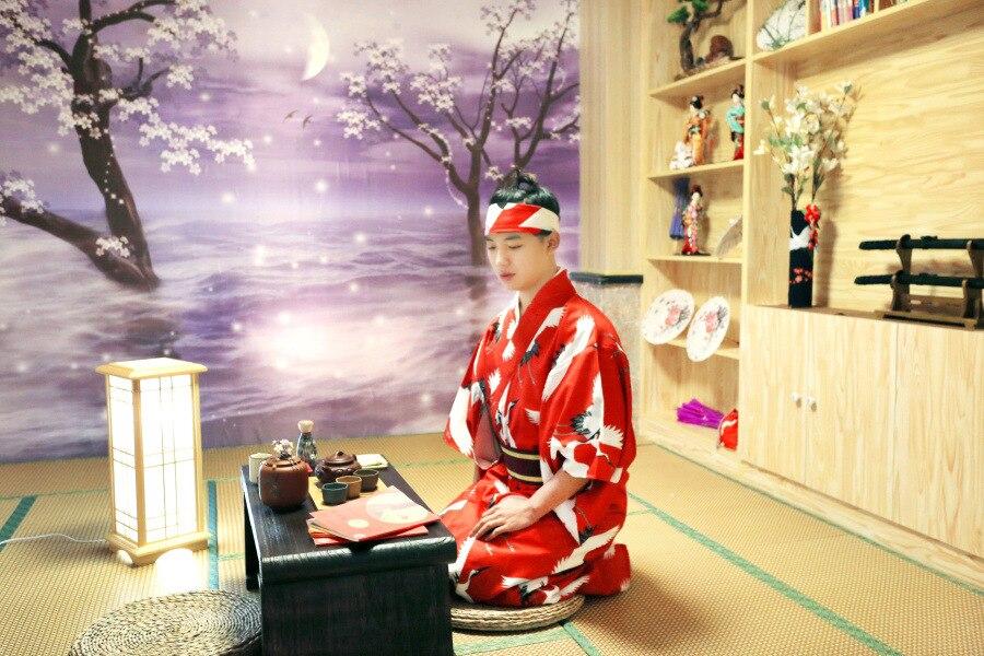 Samurai Red Crane Bathrobe Kimono For Men
