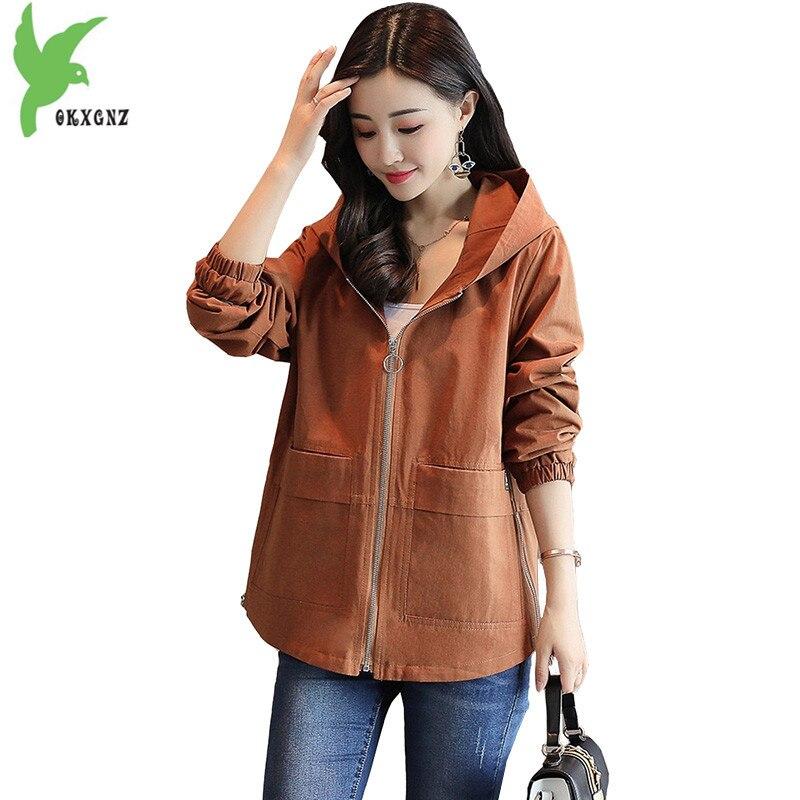 2018 Spring women's short   trench   coat Plus size Windbreaker coat Fashion Hooded Casual top female Loose short coats OKXGNZ 1732