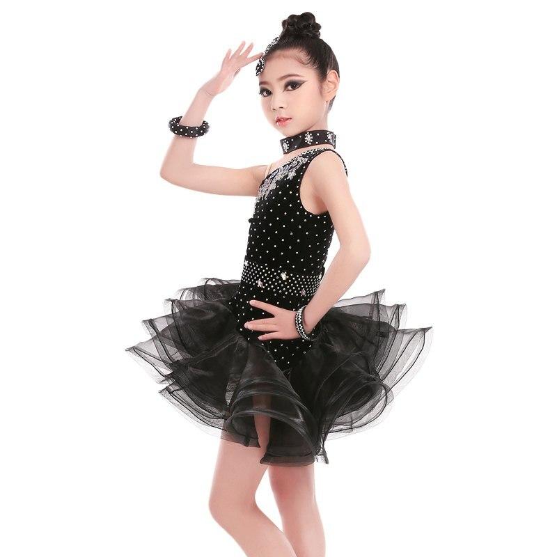 Attaché noir Latin robe filles velours salle De bal Latin danse porter enfants froid épaule Vestido De Baile Latino à vendre - 3
