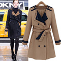2015 fall fashion for women thick british style trench coat patchwork womens coat