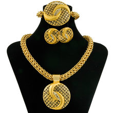 2019 New Fashion Charm Women's Jewelry Crystal Round Pendant Big Necklace Gold Jewelry Set Dubai African Bride Accessories(China)